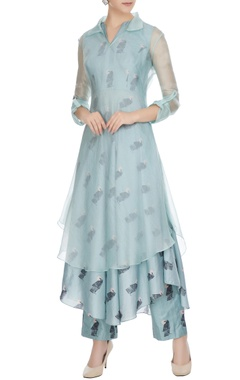 SVA - Sonam and Paras Modi Teal blue silk & organza bird printed kurta set