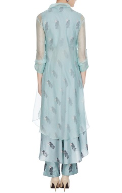 Teal blue silk & organza bird printed kurta set