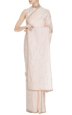 SVA - Sonam and Paras Modi Nude beige silk & organza pearl embroidered saree set