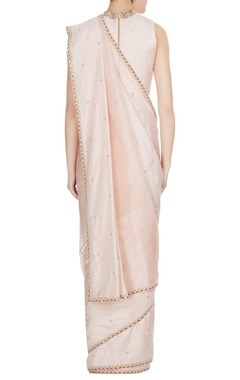 Nude beige silk & organza pearl embroidered saree set