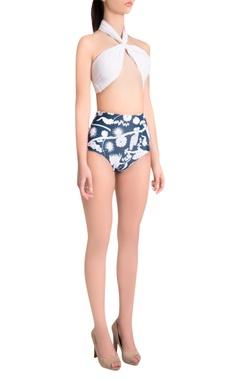 Shivan and Narresh White & blue italian jersey izu juno halter neck high-waisted bikini