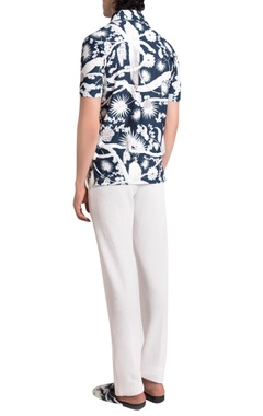 White italian jersey solid trousers