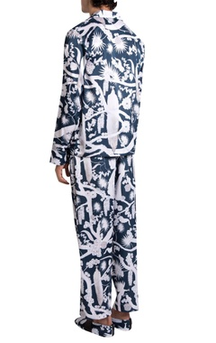 White printed crepe izu juno pyjama with shirt