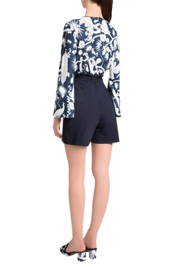 Sapphire italian jersey izu juno printed jumpsuit with bell sleeves