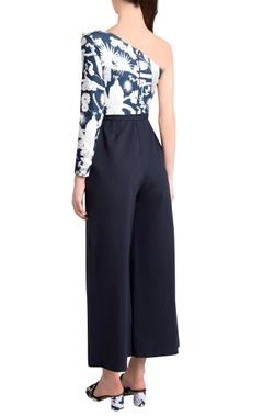 Sapphire italian jersey izu juno printed & embellished one-shoulder jumpsuit
