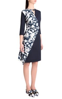 Shivan and Narresh Sapphire italian jersey izu juno printed wrap short dress