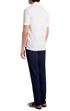White itlalian jersey solid polo t-shirt