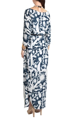 White & sapphire printed crepe izu juno pearl & needle work kaftan maxi dress