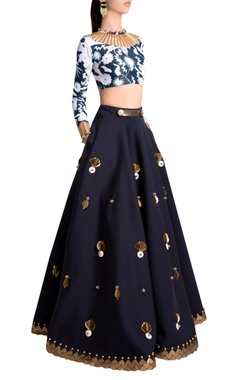 Sapphire neoprene embellished skirt with beetle skein work