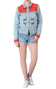 Dragonfly embroidered denim jacket