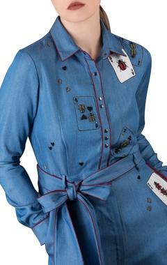 Embroidered detail denim jumpsuit