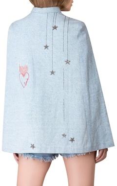 Embroidered cape shirt with frill sleeves