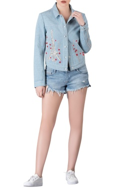 Denim jacket with applique work.