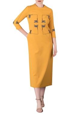 Embroidered corset midi dress