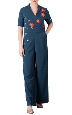 Applique work jumpsuit with utility pockets