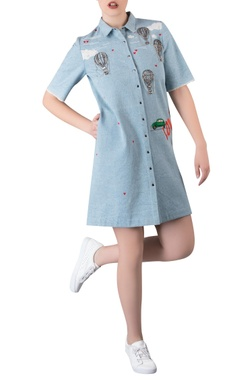 Applique work shirt dress