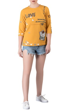Embroidered top with applique work