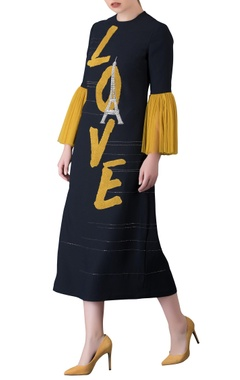 Black & yellow frilly sleeve midi dress