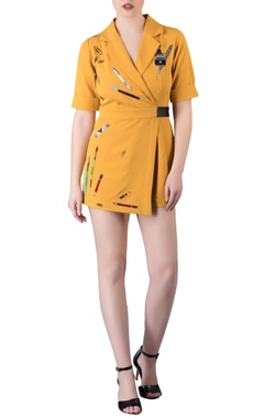 Mustard yellow 'stationery' themed playsuit in hand embroidery