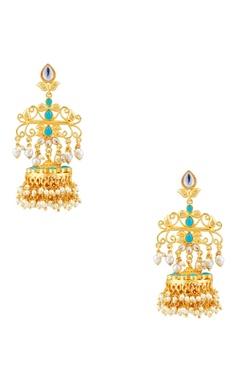 POSH By Rathore Dangling jhumka earrings with kundan & pearls