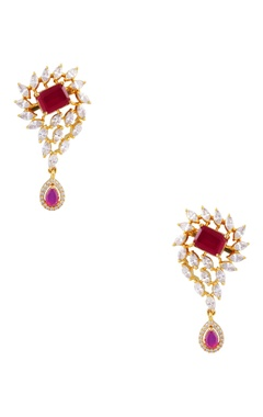 POSH By Rathore Drop earrings with pink cubic zirconia stones