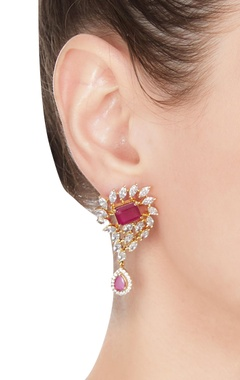 Drop earrings with pink cubic zirconia stones