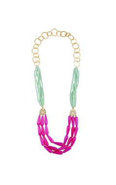 POSH By Rathore Tiered style necklace with multicolored beads