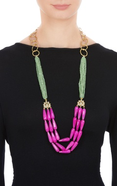 Tiered style necklace with multicolored beads