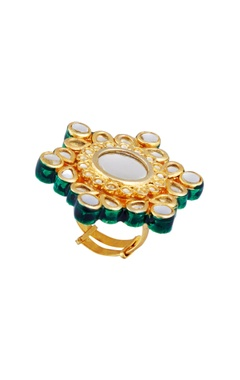 POSH By Rathore Oversized floral statement ring with kundan