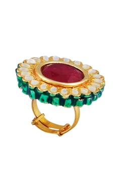 POSH By Rathore Kundan & faceted stone embellished statement ring