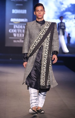 Debarun - Men Black pure silk kurta with shibori pants, matka textured jacket & hand block printed shawl