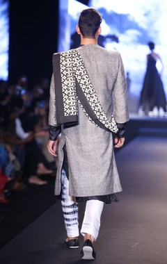 Black pure silk kurta with shibori pants, matka textured jacket & hand block printed shawl