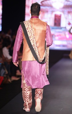 Purple matka silk jacket with lavender pure silk kurta, pure raw silk block print trouser & block print shawl
