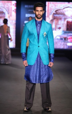 Debarun - Men Aqua blue raw silk jacket with indigo pure silk shirt kurta & black trousers