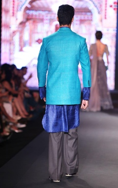 Aqua blue raw silk jacket with indigo pure silk shirt kurta & black trousers