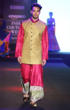 Debarun - Men Dual-shade pure matka silk jacket with pink pure silk tussar kurta & multi-colored pure silk printed salwar