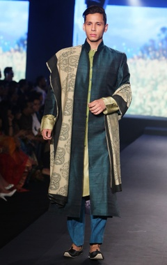Debarun - Men Bottle green pure raw silk long open jacket with pure tussar silk kurta, green trousers & printed dupatta
