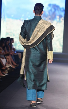 Bottle green pure raw silk long open jacket with pure tussar silk kurta, green trousers & printed dupatta