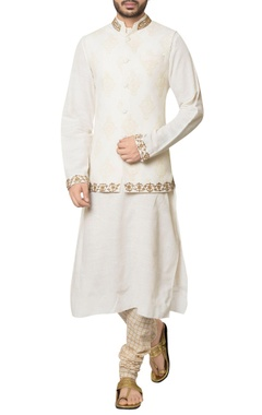 Debarun - Men White khadi cotton embroidered jacket with kurta & hand block print churidar