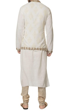 White khadi cotton embroidered jacket with kurta & hand block print churidar