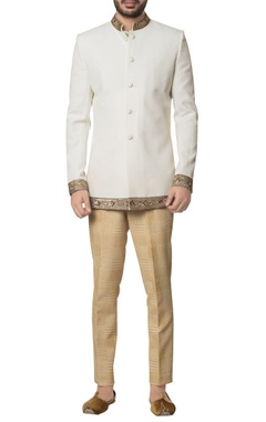 Debarun - Men White khadi cotton zardozi embroidered bandhgala with brown hand block print trouser & inner kurta