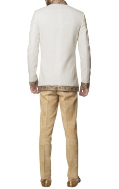 White khadi cotton zardozi embroidered bandhgala with brown hand block print trouser & inner kurta