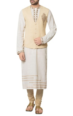 Debarun - Men Beige khadi cotton embroidered waist coat with white embroidered long kurta & beige churidar