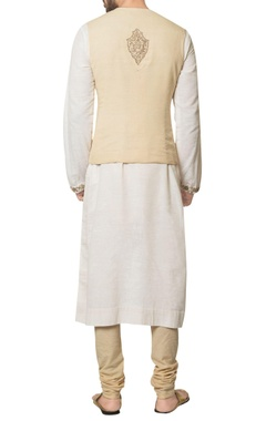 Beige khadi cotton embroidered waist coat with white embroidered long kurta & beige churidar