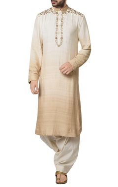 Debarun - Men Dual-shade malai cotton zardozi embroidered kurta with white kora cotton patiala pants