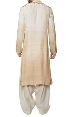 Dual-shade malai cotton zardozi embroidered kurta with white kora cotton patiala pants