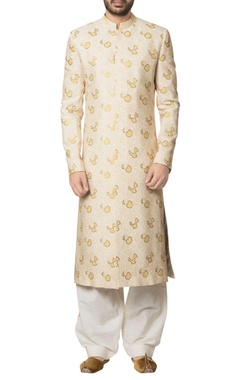 Debarun - Men Beige khadi cotton hand block print sherwani with white khadi cotton salwar