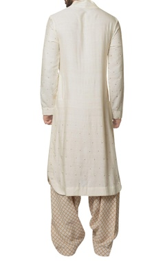 White cotton malai embroidered long kurta with beige hand block print salwar