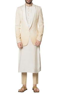 Debarun - Men Dual-shade khadi cotton coat with white long kurta & beige slim trousers