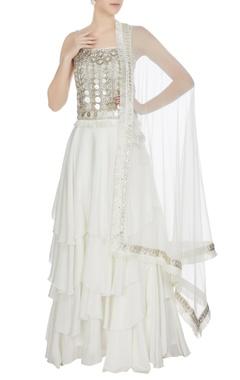 Ritika Mirchandani White & silver metal embellished crop top with lehenga & dupatta